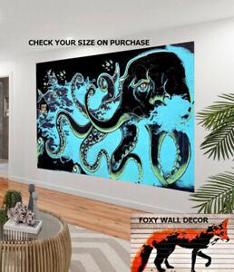 octopus canvas painting pop art art print large