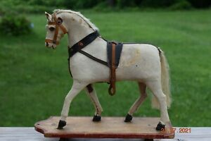 Beautiful Antique German Platform Horse on Wheels with Glass Eyes