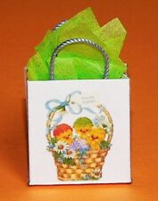 Miniature Gift Bag with Easter Basket Full of Chicks - green tissue