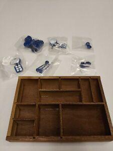 Dollhouse Miniature Blue Enamelware Set of 20 Item# 39395 NOS w/ Wood Shadow Box