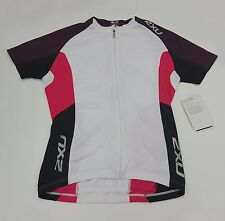 2XU Road Comp Women's Cycling Jersey WC2020a White/Blister Pink Size L