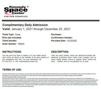 2 Kennedy Space Center Visitor Complex Florida Tickets. $127 VALUE! EXP 12-25-21