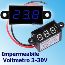 Impermeabile Voltmetro 3.5-30V DC Digitale Blu LED Display da Panello Tester