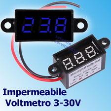 Impermeabile Voltmetro 3.5-30V DC Digitale Blu LED Display da Panello Tester