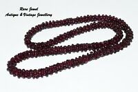 VINTAGE GARNET BEAD NECKLACE LOVELY DEEP RED GENUINE GEMSTONES