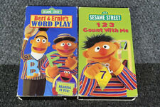 2 VHS Lot-Sesame Street BERT & ERNIE'S Word Play & 123 Count With Me TESTED