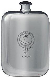 Nixon Family Crest Design Pocket Hip Flask 6oz Rounded Polished Pewter