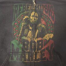 Bob Marley Rebel Music Black Sweatshirt Zip Front Jacket  XL