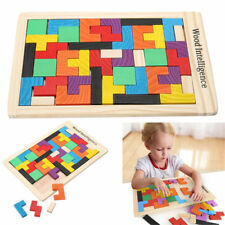 Wooden Tetris Building-Block Puzzle Montessori Preschool Game Kids Learning Toy