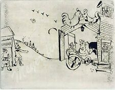 Marc Chagall etching from Les Âmes mortes