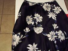 Womens Juniors, 100% Silk Dark Blue Floral  Petite Sophisticate Skirt, Size 2