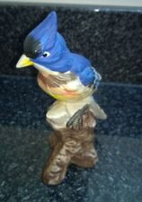Vintage Ceramic Blue Bird On tree Branch Figurine Ornament Decorative