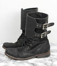 ALL SAINTS Black Nubuck Leather DAMISI Military Combat Boots, Size EU 38 / UK 5