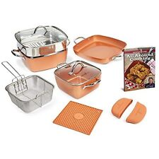 Copper Chef Cookware Set 12 Pcs Square Casserole Pan Non-Stick Induction Plate