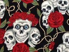 RPG609D Rose Tattoo Rare Skull Rose Blue Eyes Grateful Dead Cotton Quilt Fabric