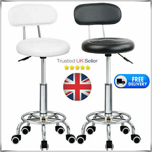 Adjustable Height Leather Padded Set Breakfast Kitchen Salon Bar Stool Chair