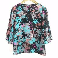 THE LIMITED Women's Sz L  Bell 3/4 Sleeve Floral Chiffon Top Lightweight