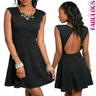 Womens Sexy Skater Mini Dress Size 6-12 Low Cut Back Party Clubbing Evening Tops