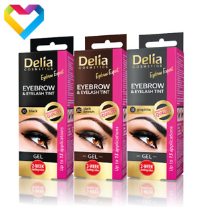 Delia Eyebrow Eyelash Gel Tint Henna 30ml Black Dark Brown Graphite Brow