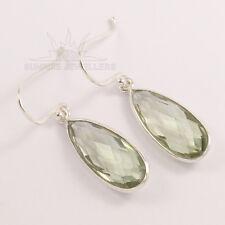 925 Sterling Silver Natural GREEN AMETHYST Gems Briollete Cut Ladies Earrings