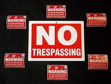 LOT NO TRESPASSING PRIVATE PROPERTY SIGN+HOME ALARM CAMERA SYSTEM WARNING DECALS