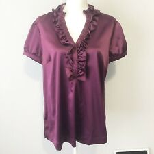 Ann Taylor Purple Satin Short Sleeve Blouse Top Ruffle Large NWT