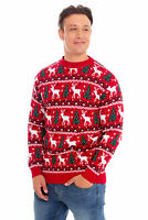 Unisex Men Women Santa Xmas Christmas Novelty Fairisle Red Retro Jumper Sweater