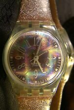 Women's SWATCH CRISTALLE Pink Purple Sparkly Jelly Band Retro Watch LN123 1996