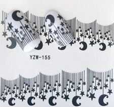 Nail Art Stickers Water Decals Transfers Black Moon Stars (YZW-155)