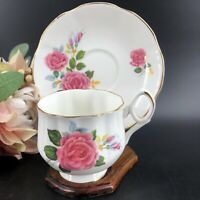 Royal Dover Bone China Vintage Teacup & Saucer Roses & Wooden Display Stand