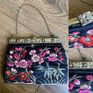 Vtg True 1920s Oriental Black Silk Embroidered Ornate Jewel Clasp Purse Bag