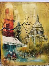 W.T. Carlsen Original Oil Painting on Board Small Cafe in  Montreal / Paris