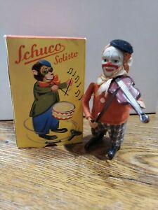 Vintage Schuco Wind Up Clown Doll Playing Violin in Box