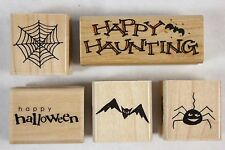 Lot of 5 Penny Black Halloween Wood Mounted Rubber Stamps Spooky Spider Web Bat!
