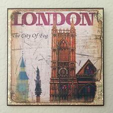 Vintage Retro Look London Plaque Wall Decor French Country Cottage