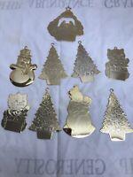Vintage Gloria Duchin Ornament Lot of 9 Signed Gold Tone 1980-1996
