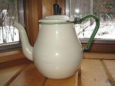 Vintage One QUART Primitive GREEN CREAM Enamel TEA KETTLE U.S. Certified