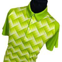 Puma Cool Cell Green Geometric Short Sleeve Performance Golf Polo Shirt Mens XL