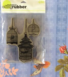 Bird Cage Trio Cling Mount Rubber Stamp Shabby Country Decor Large Stampendous