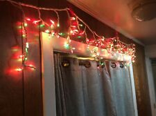 Set Of 300 Red & Green Frosted Icicle Lights - White Wire