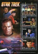 Maldives 2009 MNH Star Trek 4v M/S II Spock Leonard Nimoy Captain Kirk Stamps