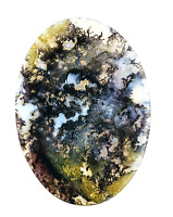 23.4ct Natural Fine Moss Agate Oval Cabochon Landscape Agate Untreated Unheated
