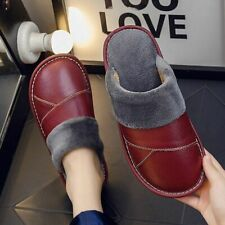 Christmas Winter House Slippers Shoes Genuine Leather Sewing Fur Flurry Slides