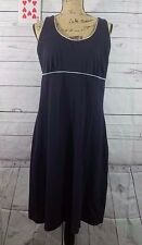 Lands End Womens Sleeveless Dress Pullover Navy Blue White Trim Large 14-16 EUC