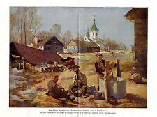 1915 Grajewo Friedliche Arbeit hinter der Front in Russisch-Polen antique print
