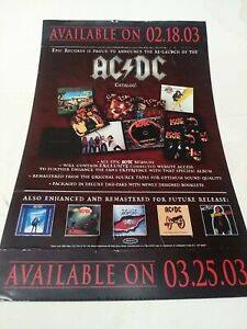 """AC/DC 11x17"""" RECORD STORE PROMO CD Double Sided Window CATALOG Vinyl POSTER VG+"""