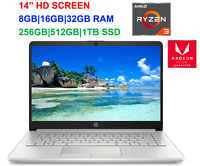 "2021 HP 14"" Screen AMD Ryzen 3 3250U (>i5-7200U), up to 3.5GHz,32GB RAM &1TB SSD"