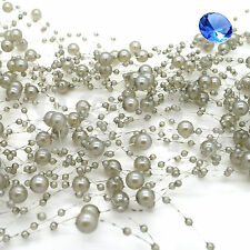 20x130cm Pearl Garland String Plastic Beads Acrylic Garlands Wedding Table Decor Silver