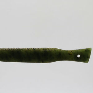 Chinese Oriental culture hand carved green jade jasper fish amulet pendant D13