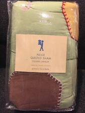 Pottery Barn Kids Page Quilted Shams Standard Patchwork Green New Sale!